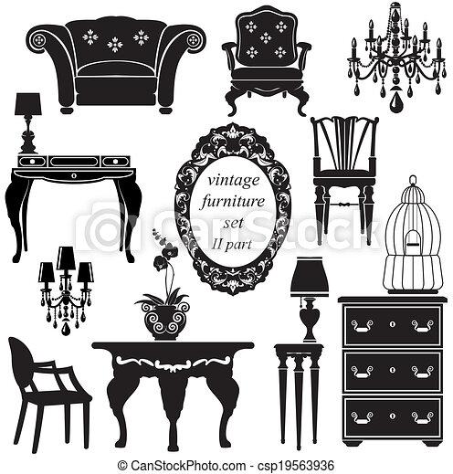 antigüidade, jogo, -, isolado, silhuetas, pretas, mobília - csp19563936
