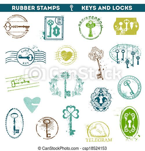 antigüidade, scrapboo, jogo, teclas, -, seu, borracha, fechaduras, selos, vetorial, desenho, ou - csp18524153