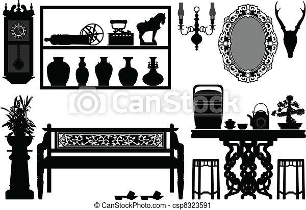 antigüidade, tradicional, antigas, mobília - csp8323591
