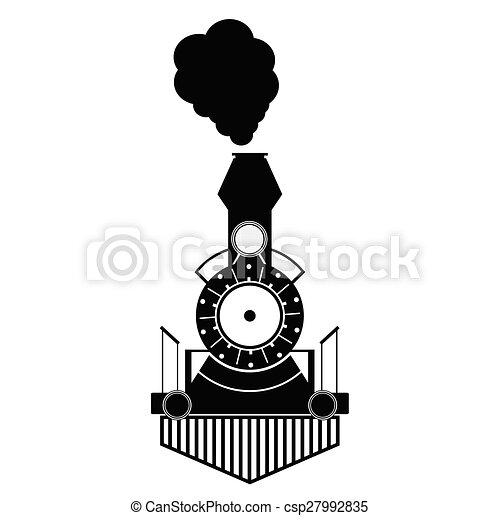 antigüidade, trem, pretas, vetorial - csp27992835