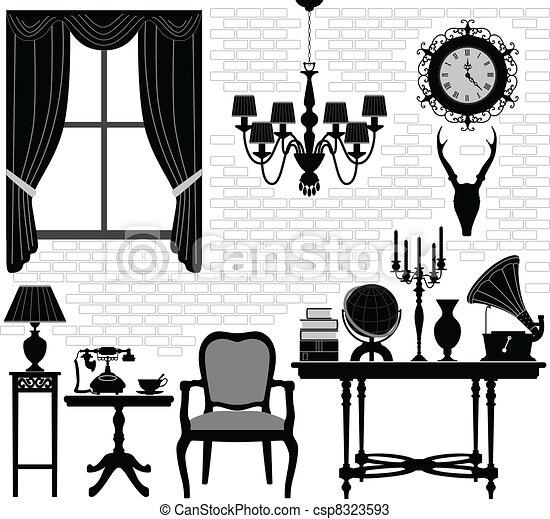 antigüidade velho, sala, corredor, mobília - csp8323593