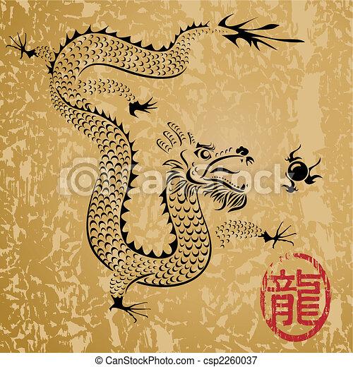 antiga, dragão chinês - csp2260037