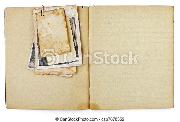 antigas, aberta, copybook, isolado, fotografias, diário, em branco, branca, ou, grupo - csp7678552