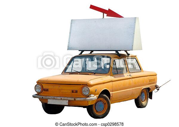 antigas, car, topo, isolado, laranja, bandeira - csp0298578