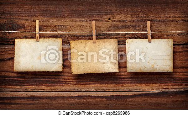 antigas, cartão postal, foto, madeira, cavilha, roupas - csp8263986