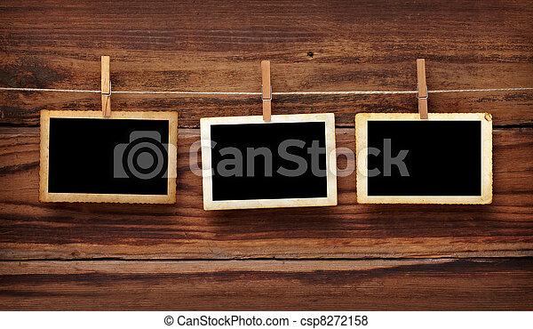 antigas, cartão postal, foto, madeira, cavilha, roupas - csp8272158