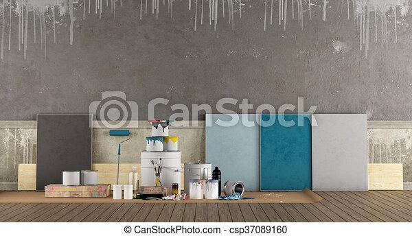 antigas, cor, pintura, parede, swatch, selecione - csp37089160