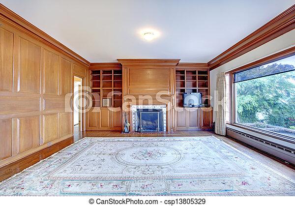 antigas, escritório, house., ameican, paredes, madeira, repouso luxuoso, lareira - csp13805329