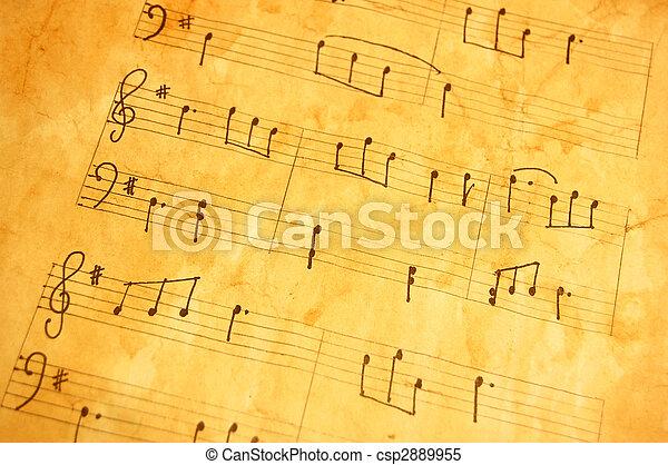 antigas, folha música - csp2889955