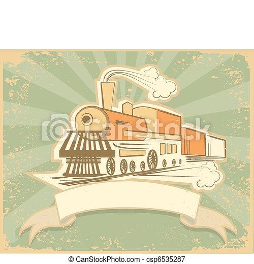 antigas, ilustração, vapor, vetorial, engine., locomotiva - csp6535287