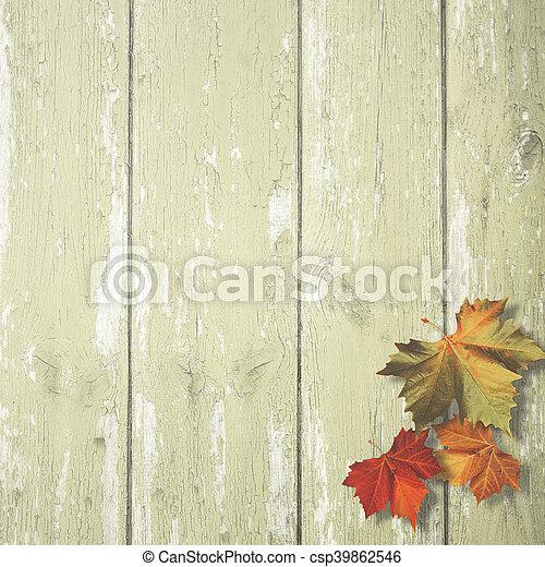 antigas, madeira, sobre, fundos, outonal, escrivaninha, folhas, abstratos, maple - csp39862546