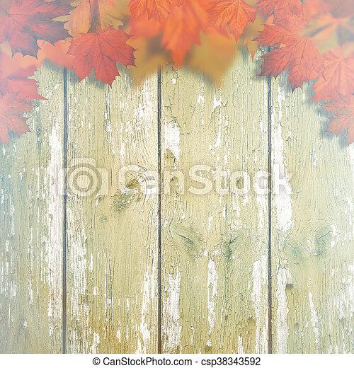 antigas, madeira, sobre, fundos, outonal, escrivaninha, folhas, abstratos, maple - csp38343592