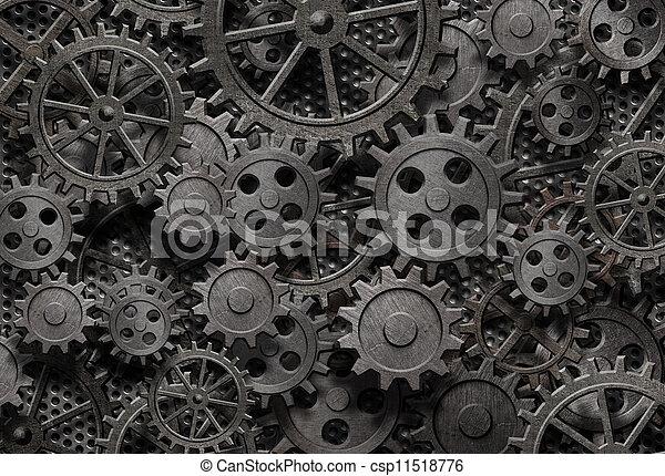 antigas, muitos, metal, máquina, enferrujado, partes, engrenagens, ou - csp11518776