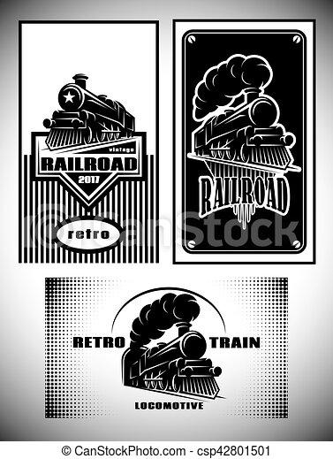 antigas, negócio, trem, vindima, set., retro, modelo, ferrovia, vapor, cartão - csp42801501