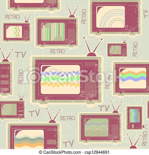 antigas, tv, seamless, textura, pattern.vintage, fundo - csp12944691