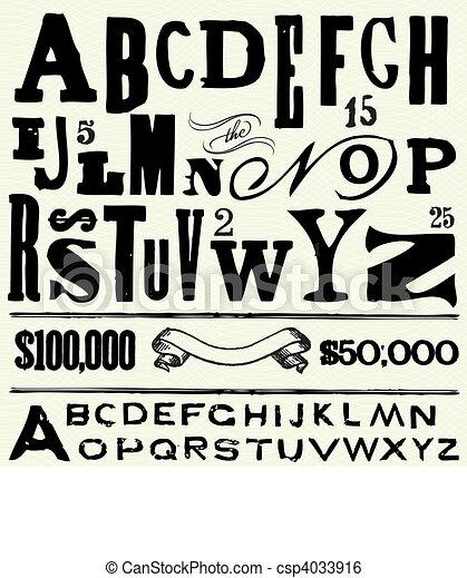 antigas, vetorial, tipo, alfabeto - csp4033916