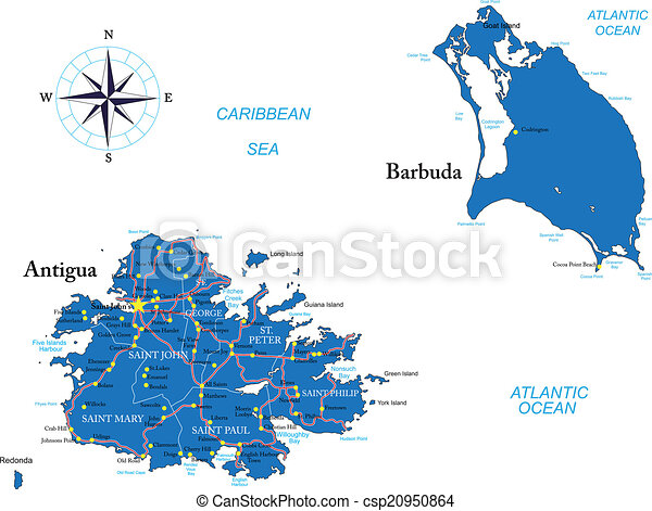 Antigua and barbuda map Highly detailed vector map of clip art