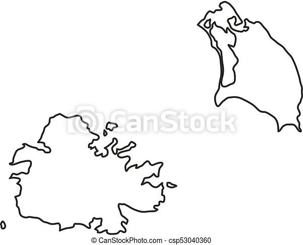 Antigua and Barbuda map of black contour curves of vector illustration