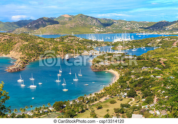 Antigua Bay, view from Shirely Heights, Antigua, West Indies, Caribbean - csp13314120