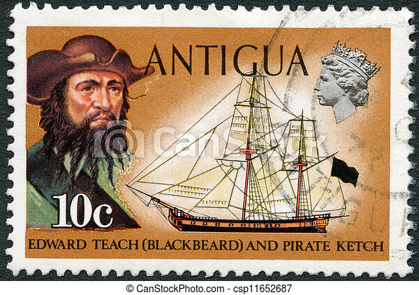 ANTIGUA - CIRCA 1970: A stamp printed in Antigua shows Blackbeard (Edward Teach) and pirate ketch, circa 1970 - csp11652687
