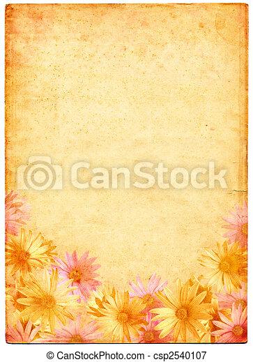 antiguo, flores, papel - csp2540107