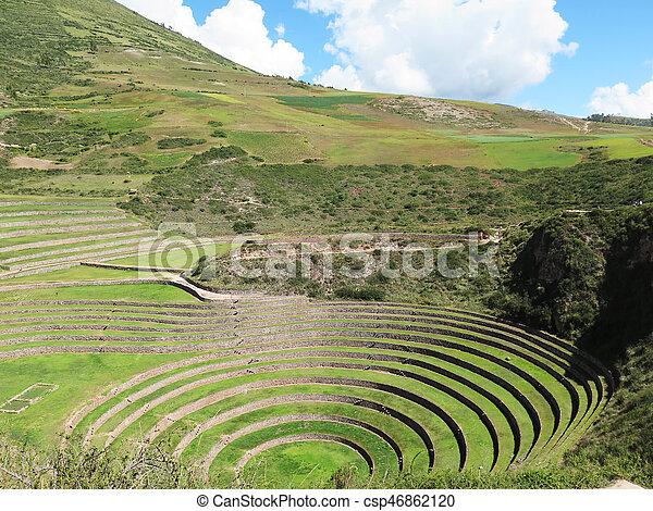 Antiguo Probable Moray Incas Allí Terrazas Inca Laboratorio Circular Agricultura Perú