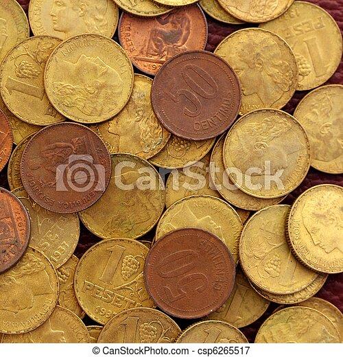 antik, ægte, peseta, gamle, valuta, 1937, republik, mønt, spanien - csp6265517