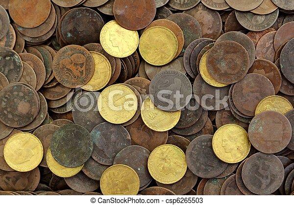 antik, ægte, peseta, gamle, valuta, 1937, republik, mønt, spanien - csp6265503