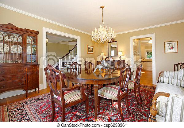 Antik, étkező, berendezés, szoba, fényűzés stock fotográfia ...