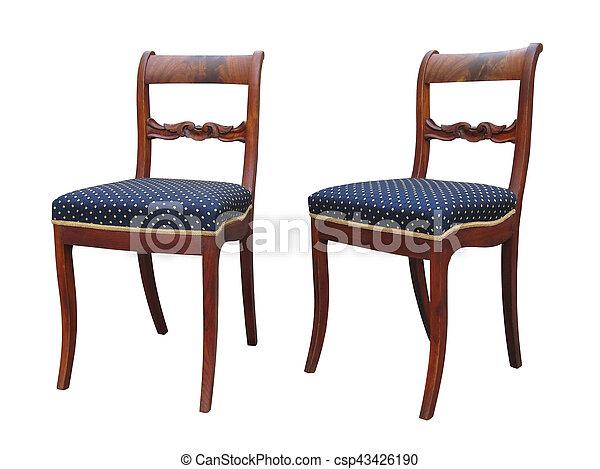 Antik, biedermeier, szék, woor, faragás. Antik, kék