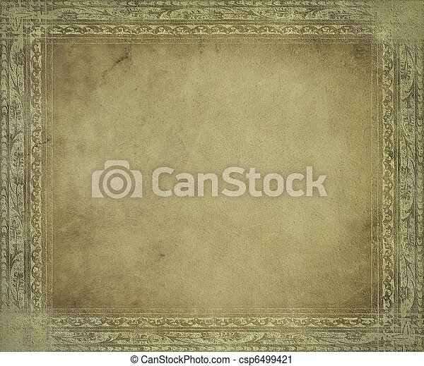antik, fény, keret, pergament - csp6499421