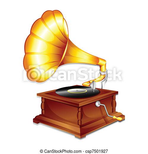 antik, gramaphone - csp7501927