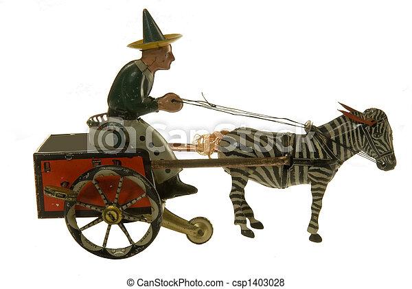 antik, hest, stykke legetøj, tin, buggy - csp1403028