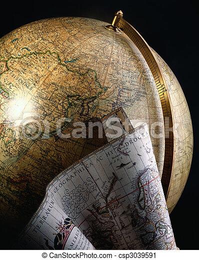 antik kartlagt, klot, värld - csp3039591