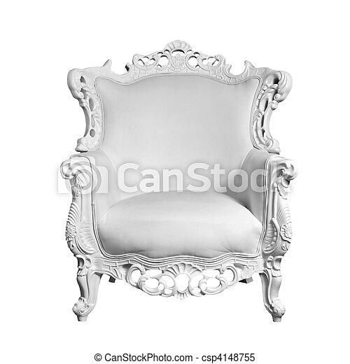 antik, megkorbácsol, fehér, szék, elszigetelt - csp4148755