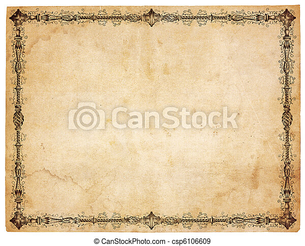 antik, victoriansk, avis, grænse, blank - csp6106609