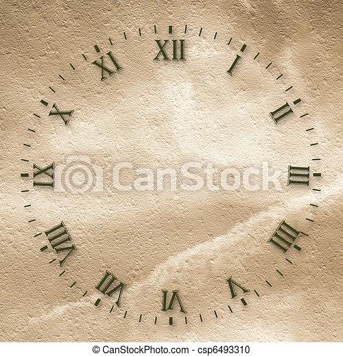 Antike Uhrengesicht auf dem abstrakten Hintergrund - csp6493310