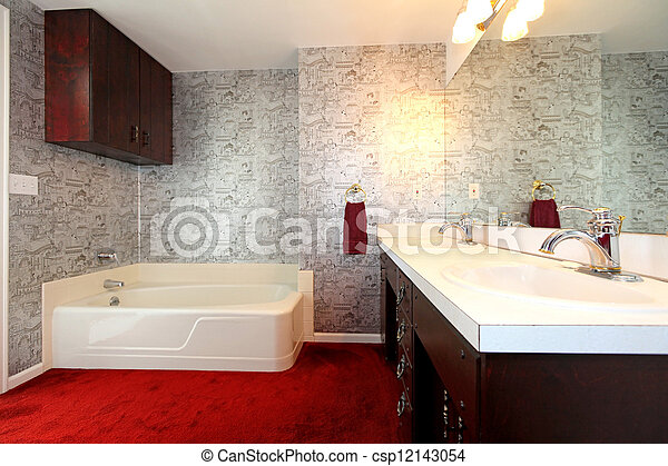 antikes , badezimmer, altes , wallpaper., roter teppich