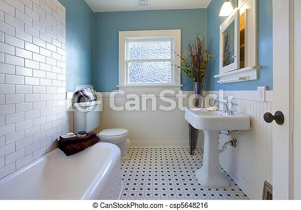 Antikes , blaues, badezimmer, design, luxus. Badezimmer, altes , wa ...