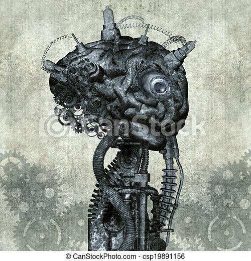Portrait eines antiken Cyborgs - csp19891156
