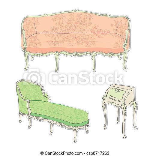 Antikes Rokoko Aufkleber Möbel