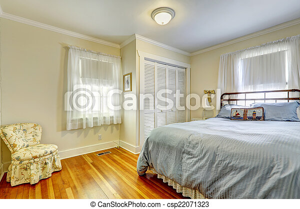 Antikes , schlafzimmer möbel. Töne, möbliert, hartholz, licht ...