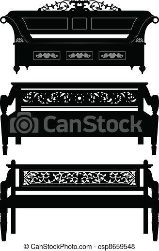 Asiatische Möbel antikes stuhl bank asiatische möbel satz silhouette vektor