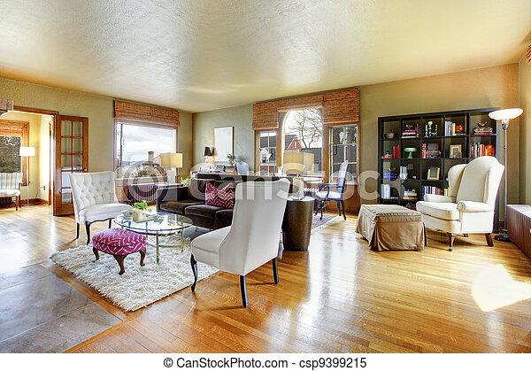 Antikes , Wohnzimmer, Gold, Groß, Interior.   Csp9399215