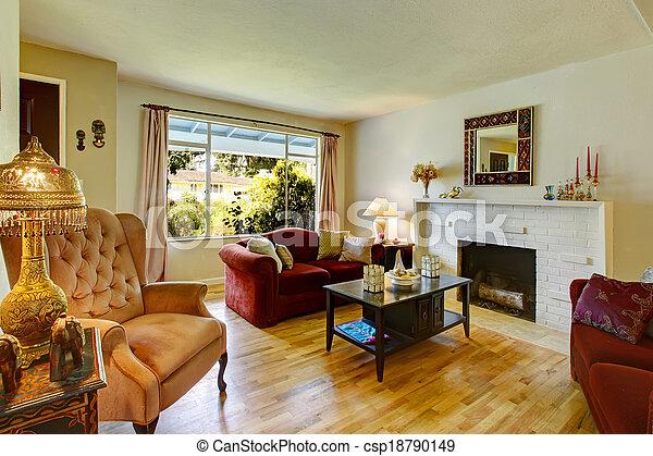 Antikes , wohnzimmer, hintergrund, mauerstein, kaminofen ...