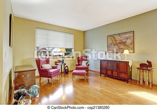 Antikes , Zimmer, Stühle, Burgunder, Hell, Ecke   Csp21380280