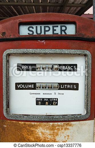 antikvitet, årgång, bensin pumpa, drivmedel, röd - csp13337776