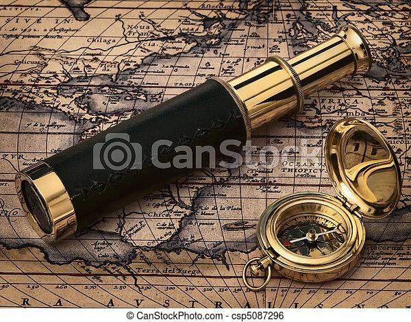 antikvitet, årgång, klocka, karta - csp5087296