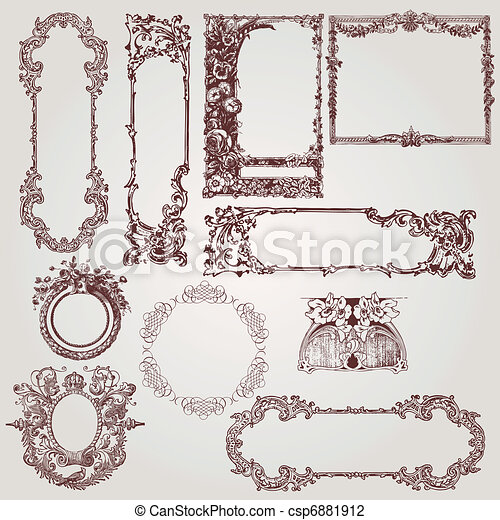 antikvitet, inramar, viktorian - csp6881912