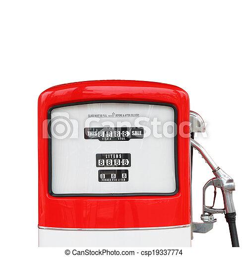 antikvitet, klippning, årgång, bensin pumpa, drivmedel, bana - csp19337774